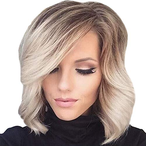 FORUU Wigs, 2019 Valentine's Day Surprise Best Gift For Girlfriend Lover Wife Party Under 5 Free delivery Short Wavy Bobo Human Hair Rose net Wig Glueless Front Wigs KhakiWomen ()