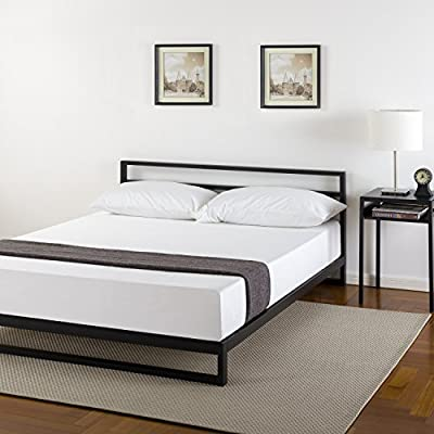Zinus Trisha 7 Inch Platforma Bed Frame with Headboard / Mattress Foundation / Box Spring Optional / Wood Slat Support… - 7 inch mattress foundation with headboard supports memory foam, Spring, and Hybrid mattresses Use with or without a box Spring to personalize your mattress Height, mattress sold separately. Core Composition:Wooden slats and Steel Frames Strong heavy duty Steel frame structure with wood slats prevents sagging and increases mattress life - bedroom-furniture, bedroom, bed-frames - 51MC2UaZefL. SS400  -