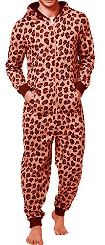 SKYLINEWEARS Men's Fashion Onesie Printed Playsuit Jumpsuit (Mens Leopard Onesie)