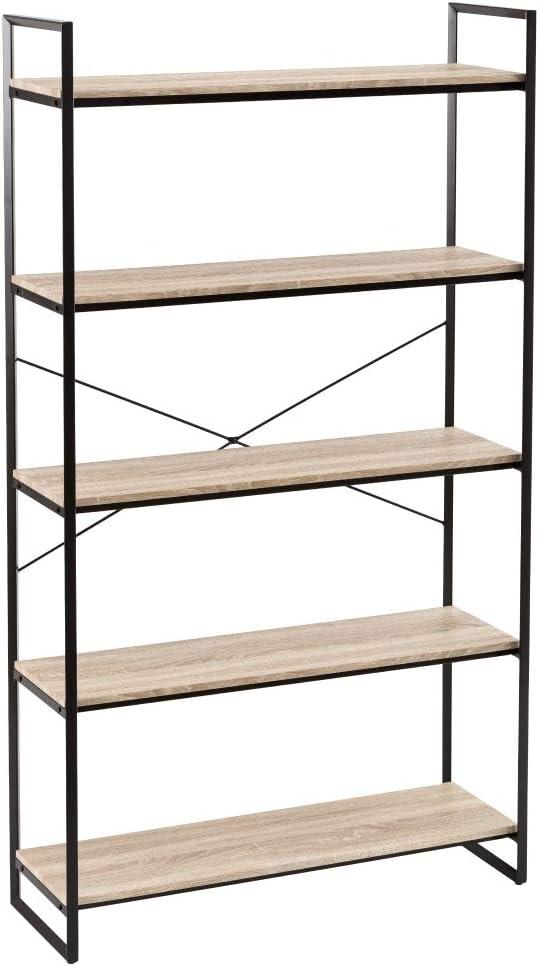 Estantería con 5 estantes Metal PVC Negro Industrial de 102x33x179 cm - LOLAhome: Amazon.es: Hogar