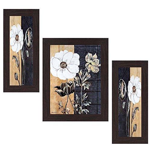 Wens View Flower MDF Wall Art (14.5 cm x 29 cm x 1 cm, Set of 3)