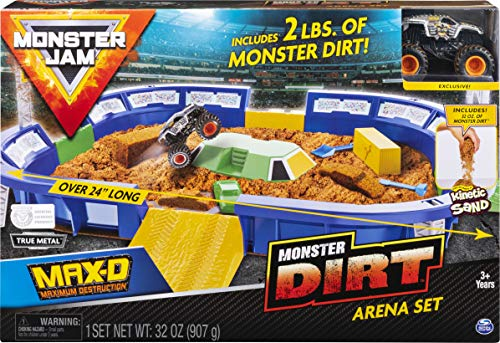 Monster Jam, Monster Dirt Arena 24-Inch Playset with 2lbs of Monster Dirt and Exclusive 1:64 Scale Die-Cast Monster Jam Truck