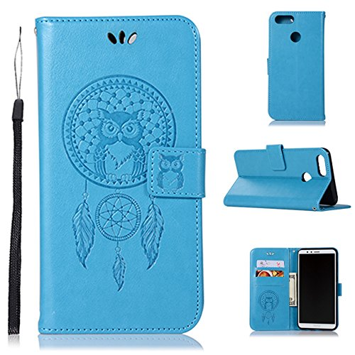 Price comparison product image Huawei Honor 7X Wallet Case, Huawei Mate SE Case, A-slim Owl Dreamcatcher Embossed PU Leather Magnetic Flip Cover Card Holders Hand Strap Case for Huawei Honor 7X (2017) / Mate SE (2018) Blue