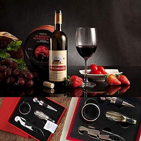 crazy bean Juego de Sacacorchos de Vino Tinto Sacacorchos de Palanca de Acero Inoxidable Juego de 4 piezas con Caja de Regalo de Mano