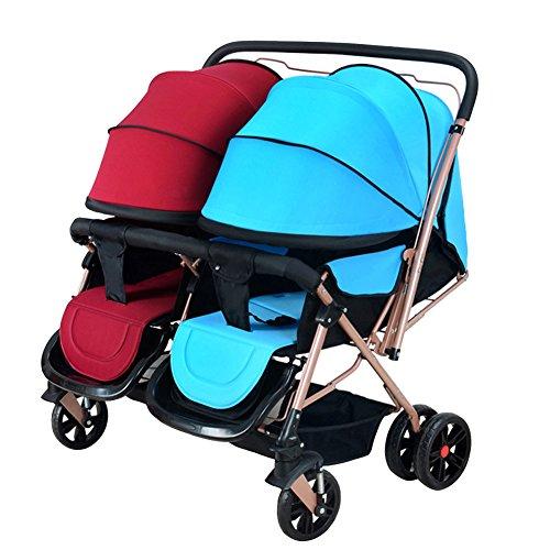 XHSP Portable Twins Baby Stroller Infant Newborn Foldable Umbrella Stroller Lightweight Baby (Newborn Twin Stroller)