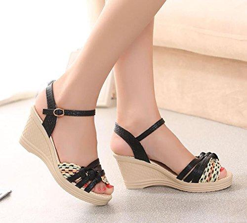 KHSKX Und Schuhe Heel Tau 7 Fisch Frauen High Schuhe Frau Schöne 38 Black Stilvolle Mode Mund Leder Cm Geprägte Ist 1qZr1Xw