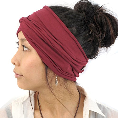 (Casualbox Mens Japanese Infinity Headband - Womens Cotton Headwrap Elastic Hair Band Neck Gaiter Ear Warmer Head Wrap)