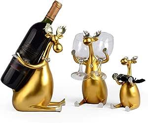 Botellero para Vinos Creative Three Between The Decorative Wine Rack Hogar Salón Comedor Vinoteca Decoración Wine Rack Vino Estante (Color : Gold, Edition : A)