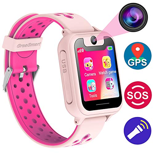 (Kids Smartwatch with GPS Tracker Phone Remote Monitor Camera Touch Screen One Game Anti Lost Alarm Clock App Control by Parents for Children Boys Girls Christmas Holiday Birthday)