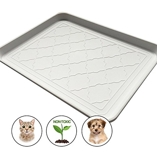 Easyology Pets Premium Large Pet Food Mat, Non Skid, Dog, Cat, Feeding Tray 17.5'' x 14'' (White)