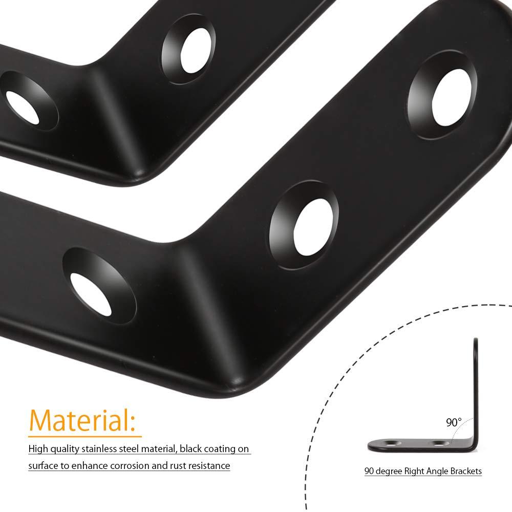 Fandamei Lot de 20 /équerres dangle en acier inoxydable 40 x 40 mm avec 80 vis pour meubles en bois bureau /étag/ère de fen/être