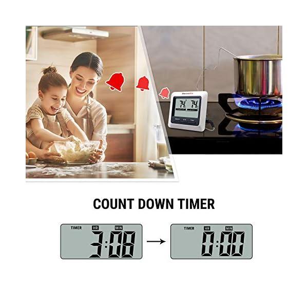 ThermoPro TP04 Termometro Cucina Digitale con Una Sonda e modalità Timer per Alimenti Carne Barbecue BBQ Forno Griglia… 5