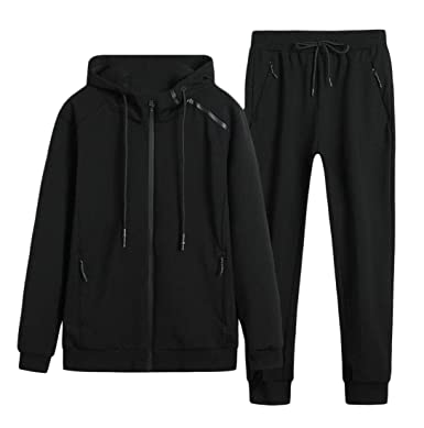 b58b213368 Nanquan Men Active Plus Size Hooded Jogger Pants 2 Pcs Outfits ...