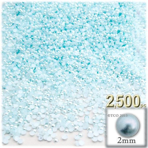 The Crafts Outlet 2500-Piece Pearl Finish Half Dome Round Beads, 2mm, Sky (2mm Half Round Dome)
