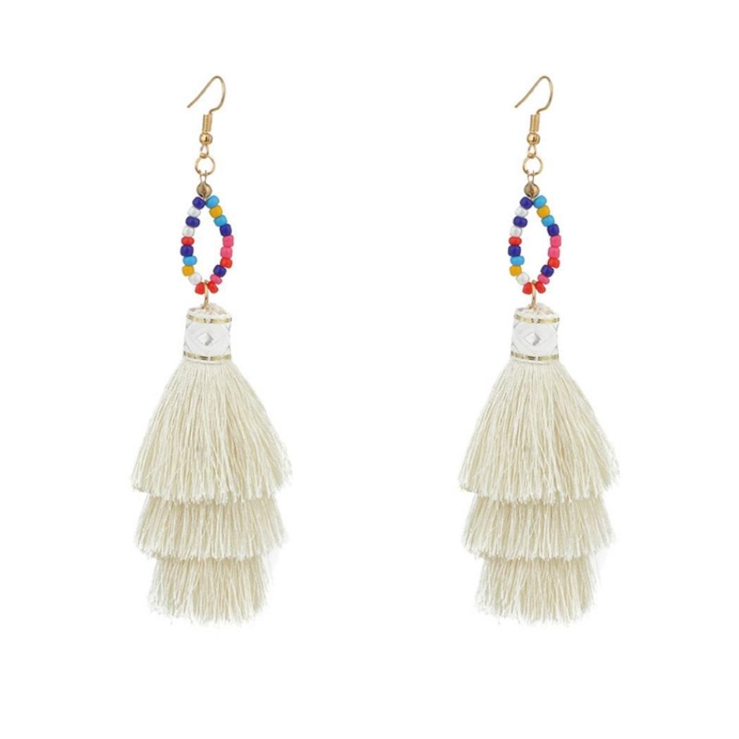 angel3292 Clearance Deals Women Bohemia Bead Tassel Pendant Long Dangle Hook Earring Jewelry Birthday Gift