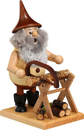 German Incense Smoker Timber-Gnome on a board - 15 cm / 6 inches - Drechselwerkstatt Uhlig by Authentic German Erzgebirge Handcraft