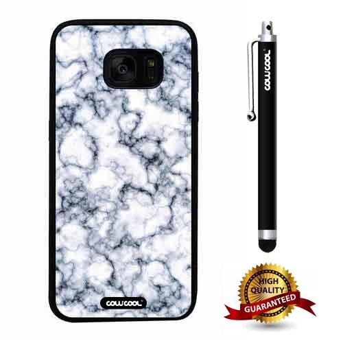 Galaxy S7 edge Case, Marble Pattern Case, Cowcool Ultra Thin Soft Silicone Case for Samsung Galaxy S7 edge - Pigment Dilution Marble Texture (Pigment Olive High 1 Cream)