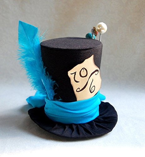 Hand-Made Mad Hatter Black Mini top Hat with a Blue Feather and a one-Size-fits-All Elastic Headband Worn Behind The Head for $<!--$40.00-->