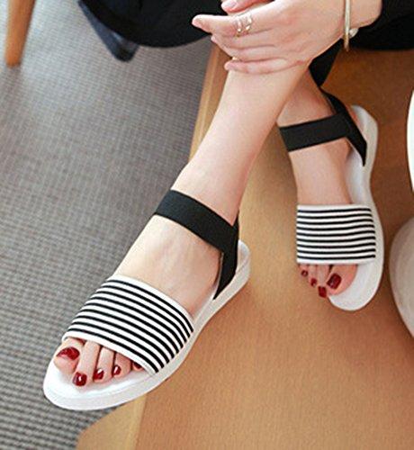 Aisun Kvinners Skjegg Trendy Stripet Åpen Tå Elastiske Flate Sandaler Med Ankelen Stropp Svart