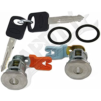 APDTY EM69973 Door Lock Cylinder Pair With New Keys & Gaskets For 1995-2011 Ford Trucks (Except Smart Key or Transponder Key Models; Match Image To Your Vehicle To Verify): Automotive
