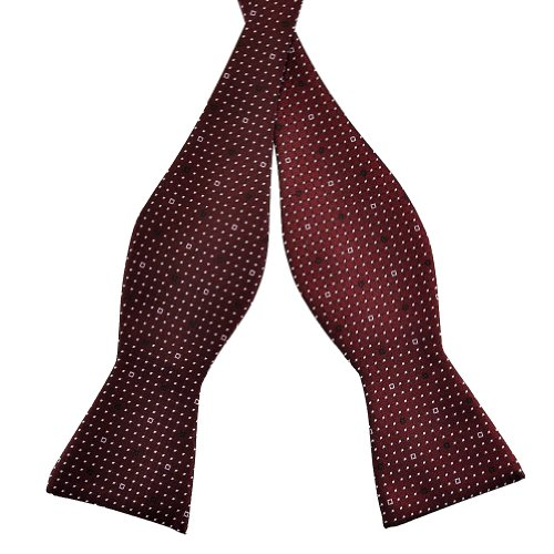 Pensee Mens Self Bow Tie Dark Red and White Dot (Pattern Silk Bow Ties)