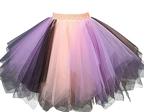 [MsJune Women's 1950s Vintage Petticoats Crinolines Bubble Tutu Dance Half Slip Skirt Lavender & Orange &] (Tutu Halloween Costumes For Teenage Girls)