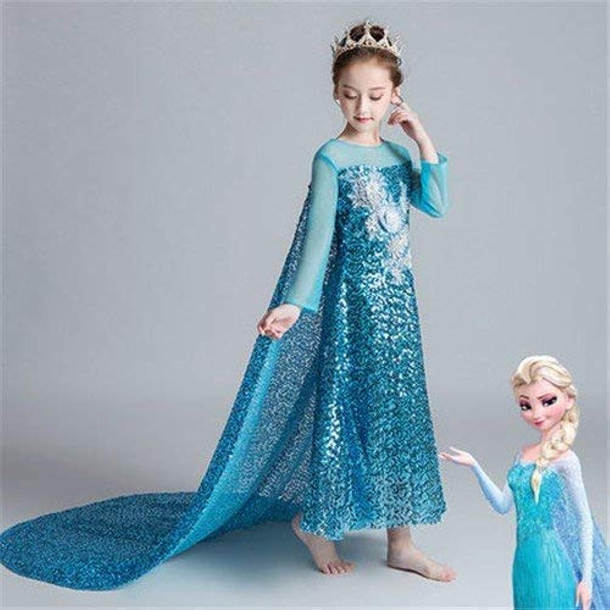 [해외] M-1091 디즈니 프린세스 키즈 엘사 원피스 변신(나리키리) 원피스 프린세스 드레스 아이 드레스 프린세스 키즈 드레스 소녀 (100)