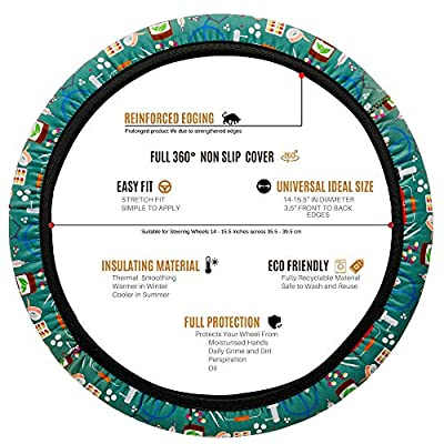 Thank a Nurse Wheel Cover - 4 Nursing and Medical Designs Steering Wheel Covers, Simple to Fit No Tools Required, Stretchy Material. for Registered Nurses, Nursing Students and Medical Assistants: Automotive