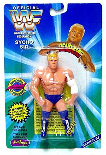 Jakks Pacific WWE Wrestling WWF Bend-Ems Series 4 Sycho Sid Rubber Figure (Wrestling Bend)