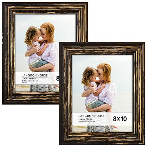 (Langdons 8x10 Real Wood Picture Frames (2 Pack, Barnwood Brown - Gold Accents), Brown Wooden Photo Frame 8 x 10, Wall Mount or Table Top, Set Of 2 Lumina)