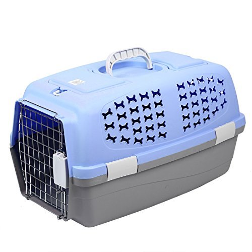 DealMux Plastic Outdoors Travel Meshy Transport Cages Airways Box Pet Carrier 59x38x38cm Blue by DealMux (Image #4)