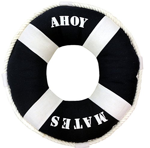 Ahoy Mates Life Ring Pillow, Blue with Rope Accent