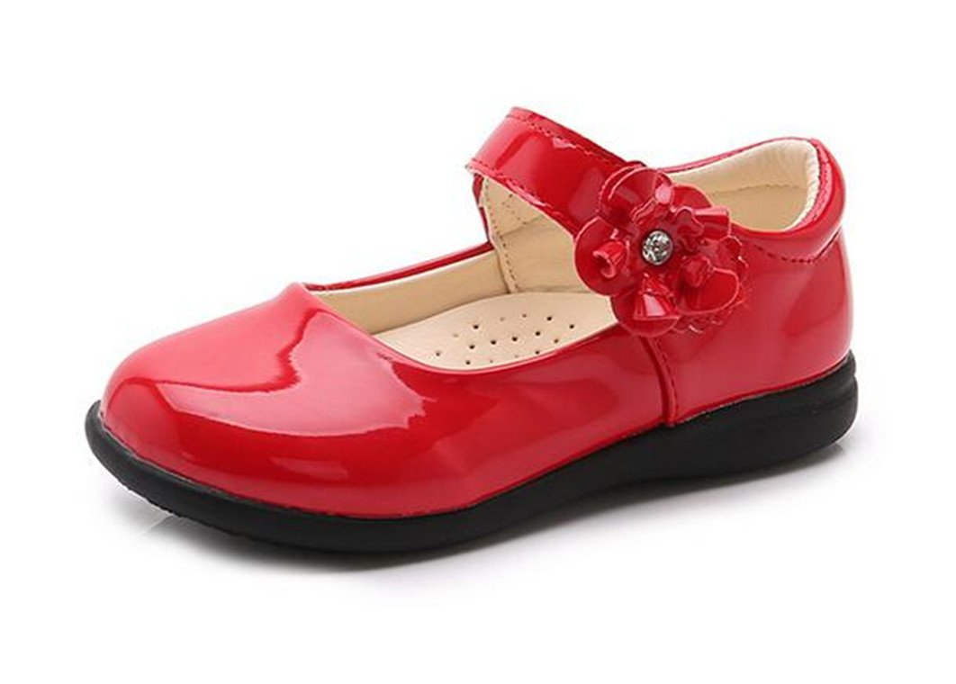 Bumud Girl's Mary Jane Dress Uniform School Flat Oxford Shoes(Toddler/Little Kid) (12 M US Little Kid, Red)
