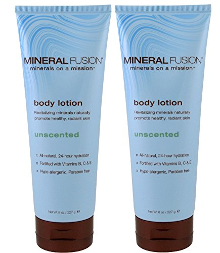 Mineral Fusion Unscented Body Lotion (Pack of 2) with Aloe Barbadensis Leaf Juice, Sunflower Seed Oil, Coconut Oil, Beeswax, Cocoa Seed Butter and Vitamin C, 8 oz.