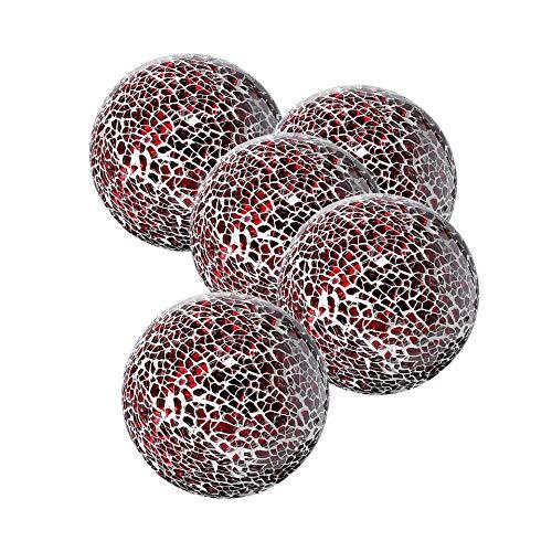 (Whole Housewares Decorative Balls Set of 5 Glass Mosaic Sphere Dia 3