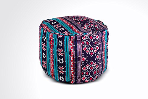 Round Ikat Pouf Ottoman, Blue, Black and Red. Ethnic, Boho Pouf, Floor Cushion. Handwoven in Indonesia. 20''W x 13.5''H by Kasih Coop