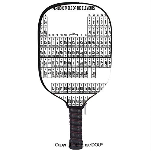 AngelDOU Periodic Table Waterproof Zipper Single Pickleball Paddle Racket Cover Case Monochrome Simple Science Chemistry Elements for Students Class Image for for Most Rackets.Black and White