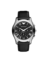 Armani AR1700 44mm Stainless Steel Case Black Leather Mineral Men's Watch