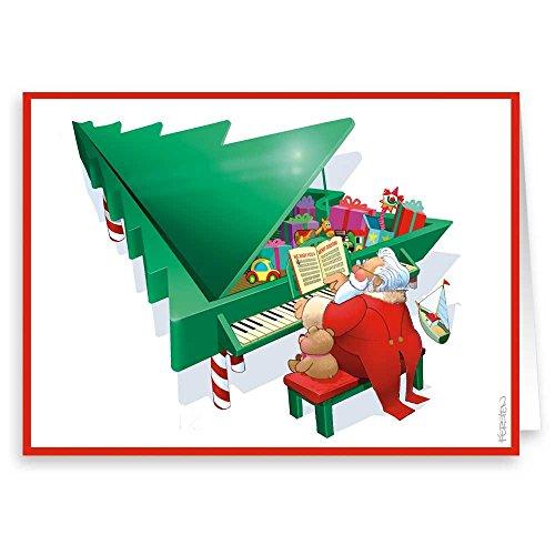 Christmas Piano Music Theme Holiday Card - 18 Cards & Envelopes - Music Theme Christmas Card (Standard) (Christmas Music Cards Theme)