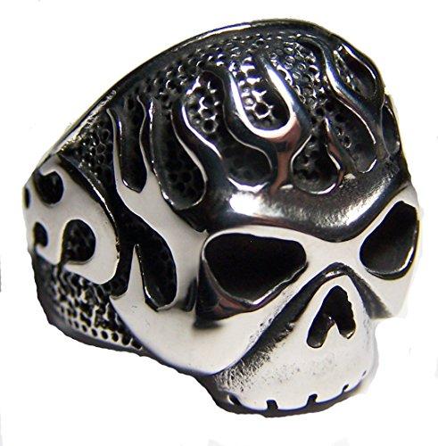 FIRE FLAMING SKULL HEAD Stainless steel BIKER RING - size 13 (Flaming Skull Head)