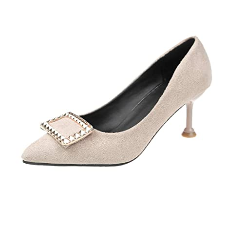 77ef9c43901 Copercn Womens Ladies Elegant Classic Faux Suede Sculpture Metal Decoration  Close Toe Shallow Mouth Mid Stiletto