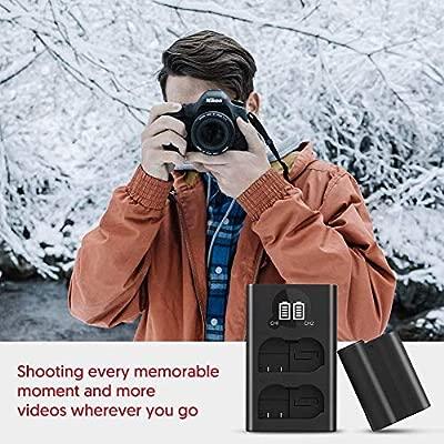 ESDDI EN-EL15 Reemplazo de la batería Nikon con Doble Cargador de batería de Goteo de 2.1A LCD, Compatible con Nikon D750, D7200, D7500, Nikon 1 V1, ...