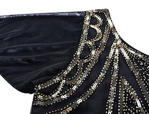 Kayamiya Art Gold Jahre Deco Flapper 1920er Pailletten Vintage Kleid Gatsby Cocktail Damen Kleid raBrq