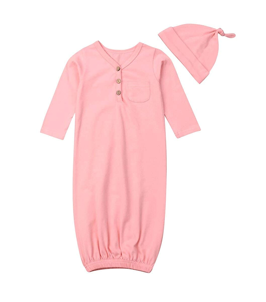 Newborn Baby Boy Girl Cotton Nightgown Long Sleeve Button Solid Color Sleeper Gown with Hat Sleepwear Set