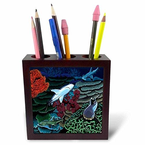 3dRose ph_3223_1 Reef Sharks Tile Pen Holder, 5-Inch (Holder Pencil Pen Tile)