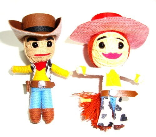 (Cowboy Woody & Cowgirl Jessie Pair of Toy Story Voodoo String Doll Keyring)