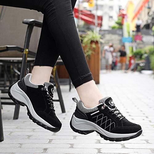 Negro QinMM otoño Mujer con Libre Plataforma Running Cordones Zapatos Calzado para Deportes Verano Gym Primavera Aire y Zapatillas cTgBUw1qx