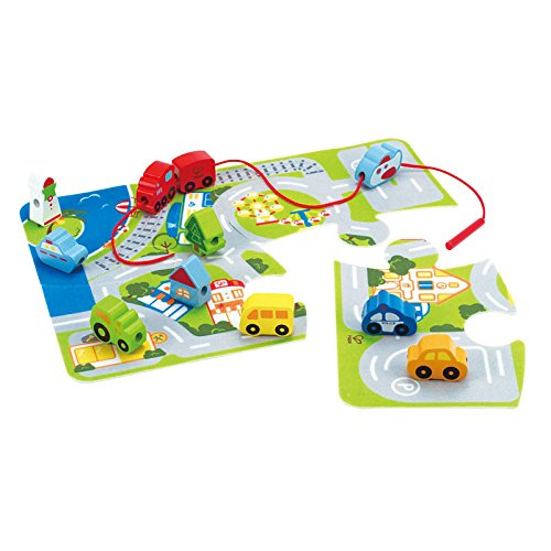 Hape - Early Explorer - Busy City Puzzle Mat Play Set (Plan City Playmat)