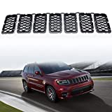 jeep grand cherokee grille guard - YAV 7PCS Black Grill Inserts for Jeep Grand Cherokee Accessories 2017 2018 2019 2020 Honeycomb Matte Mesh Front Grille Replace Part