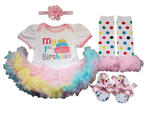 AISHIONY 4PC Baby Girl Newborn 1st Birthday Tutu Rainbow Outfit Princess Dress ()